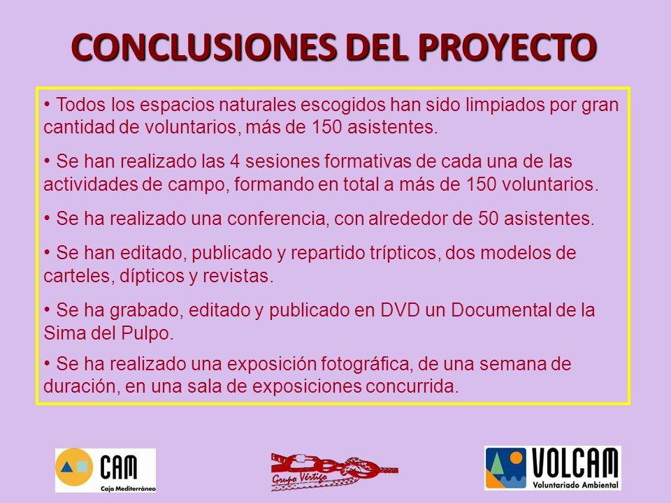 RE1-RE5 LIMPIEZAS RE6 SESIONES FORMATIVAS RE7 CONFERENCIAS RE8 PUBLICACIONES RE9 DVDs TODOS LOS OBJETIVOS HAN SIDO AMPLIAMENTE CONSEGUIDOS
