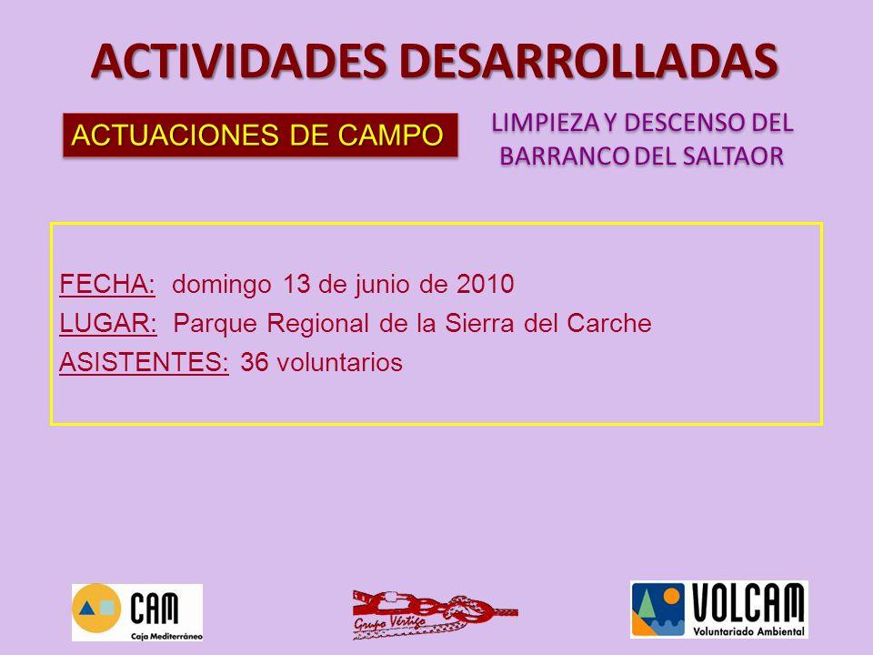 ACTUACIONES DE CAMPO ACTIVIDADES DESARROLLADAS LIMPIEZA Y DESCENSO DEL BARRANCO DEL SALTAOR LIMPIEZA Y DESCENSO DEL BARRANCO DEL SALTAOR
