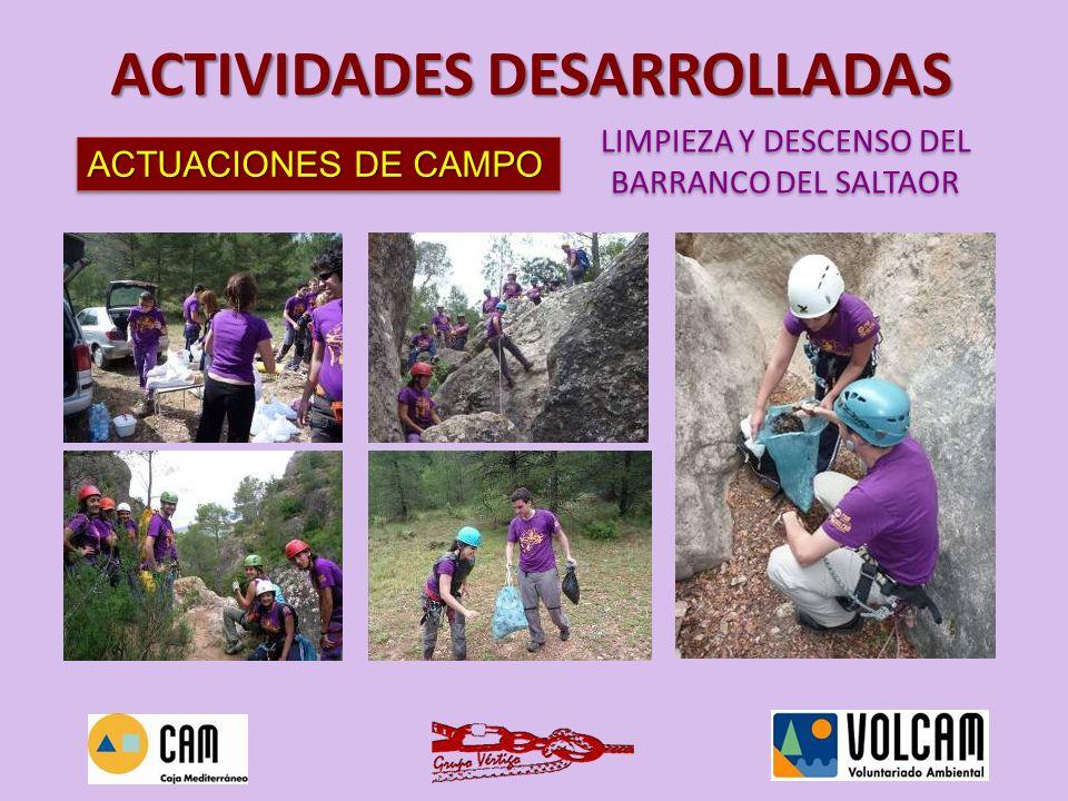 ACTUACIONES DE CAMPO LIMPIEZA DE LAS ESCUELAS DE ESCALADA DE LA AZOHÍA LIMPIEZA DE LAS ESCUELAS DE ESCALADA DE LA AZOHÍA ACTIVIDADES DESARROLLADAS FECHA: domingo 4 de julio de 2010 LUGAR: Parque Regional de la Sierra de la Muela, Cabo Tiñoso y Roldán ASISTENTES: 40 voluntarios