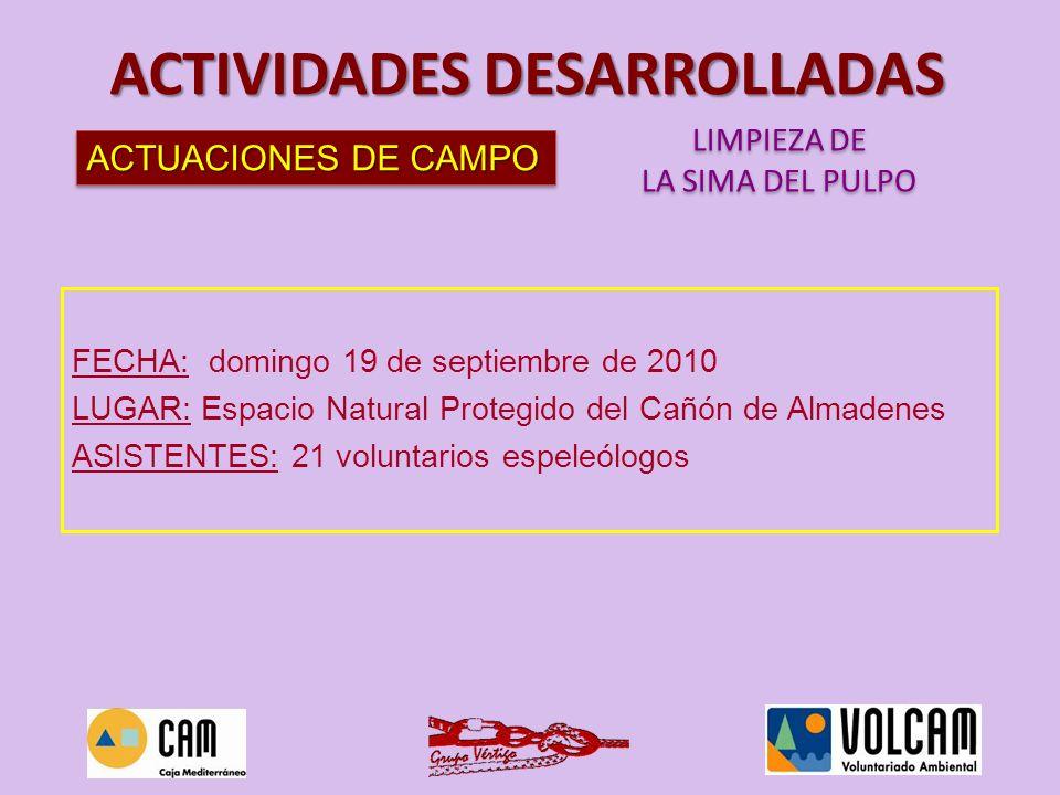 ACTUACIONES DE CAMPO ACTIVIDADES DESARROLLADAS LIMPIEZA DE LA SIMA DEL PULPO LIMPIEZA DE LA SIMA DEL PULPO