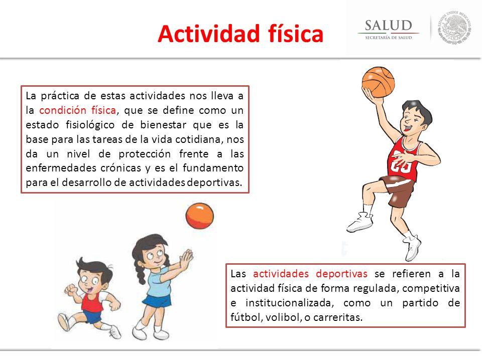 La actividad física debe incluir actividad aeróbica apropiada para la edad, y actividades que ayudan al fortalecimiento de músculos y huesos, siendo estas últimas especialmente importantes en niños y adolescentes, ya que es durante la niñez y la pubertad cuando los huesos obtienen una mayor densidad.