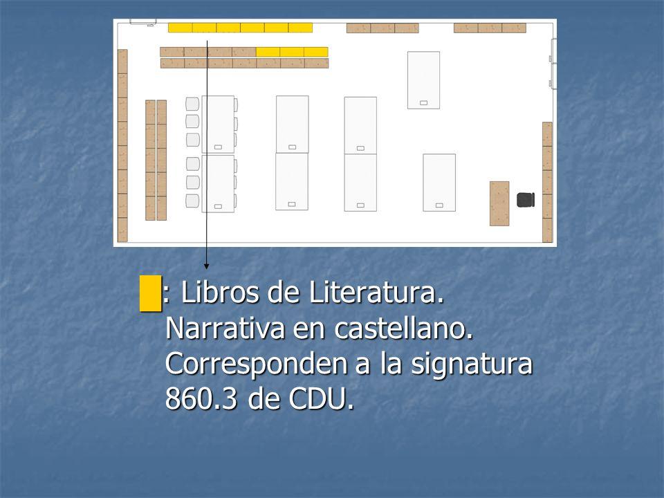 : Libros de Literatura narrativa en castellano.Corresponden a la signatura 860.3 de CDU.