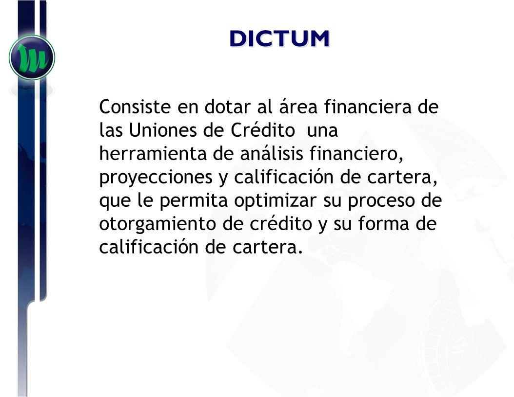 DICTUM Dictum E se integra de los siguientes módulos: Análisis Histórico Expediente de Crédito Alertas Financieras Proyecciones Financieras Valuación de Empresas
