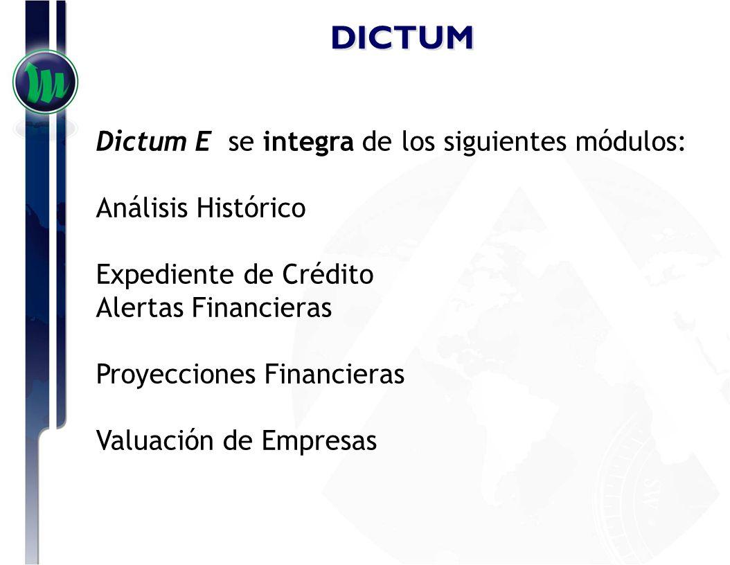 DICTUM Dictum K se integra de los siguientes módulos: Generador de Reportes Calificaciones de Empresas Catalogos de calificaciones de empresas Seguridad de Acceso a las funcionalidades del programa.