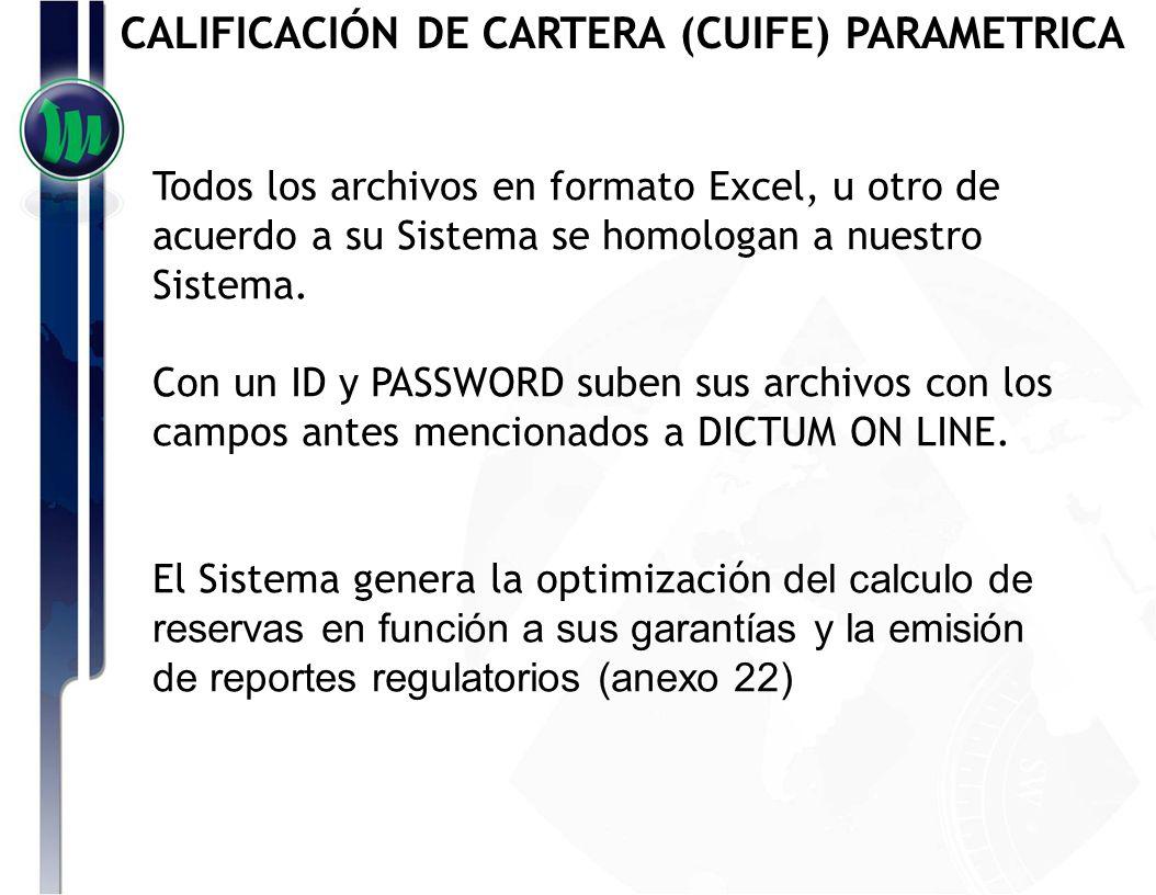 CALIFICACIÓN DE CARTERA (CUIFE) PAREMETRICA