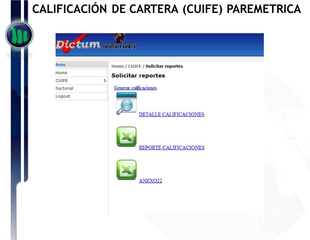 REPORTE DE CALIFICACIONES CALIFICACIÓN DE CARTERA (CUIFE) PAREMETRICA