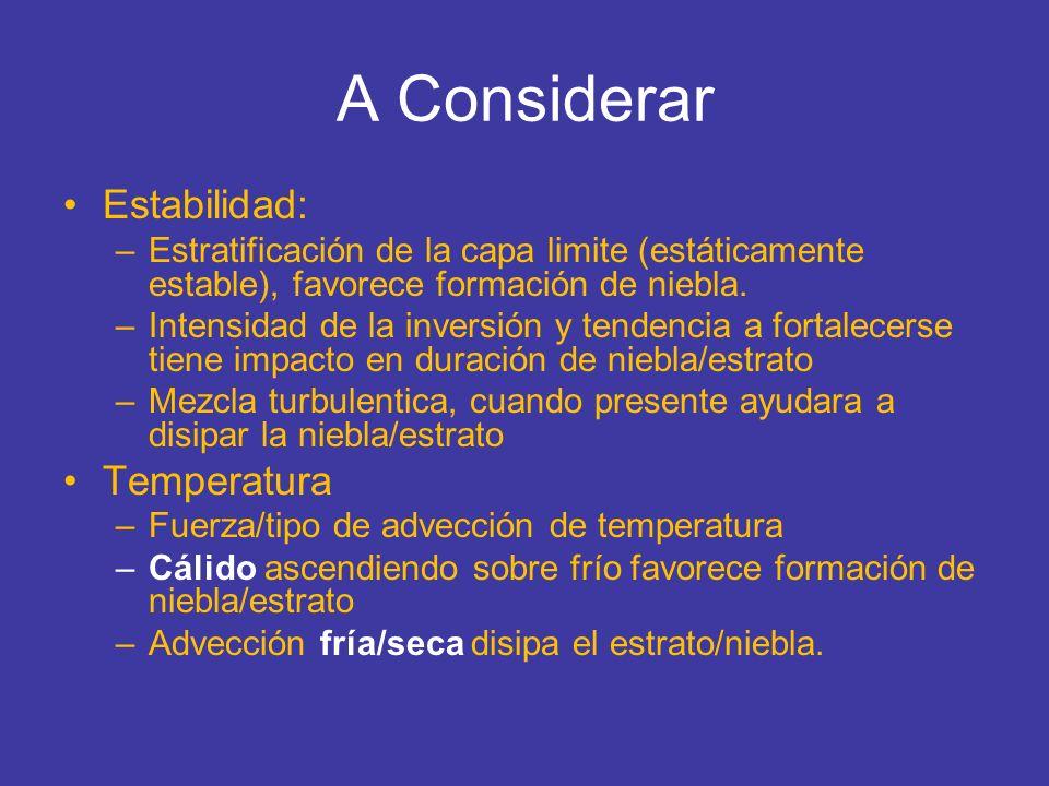 A Considerar Humedad/Precipitación: –Advección húmeda o seca –Profundidad y contenido de agua de la masa fría presente.