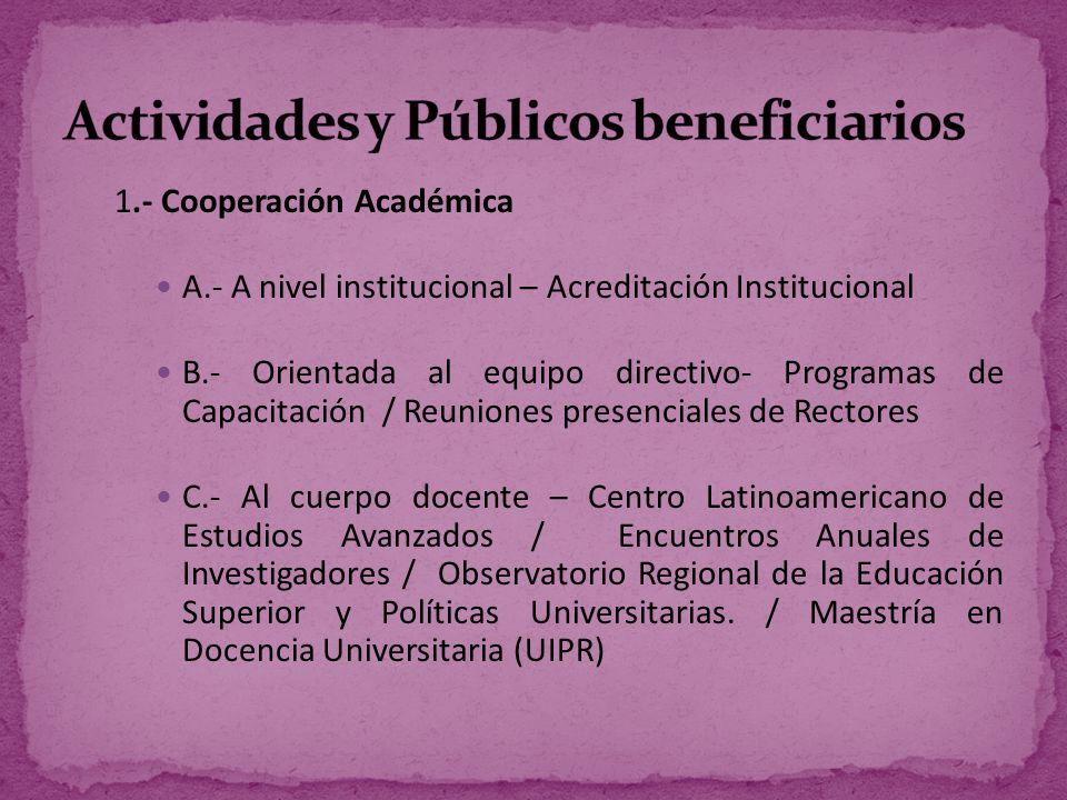 D.- Dirigida a los estudiantes – Programa de Movilidad y Homologación de Estudios / Diseño isologo RLCU (UAO) / Torneo Hispanoamericano de Debate / Escuela Latinoamericana de Debate de la RLCU.
