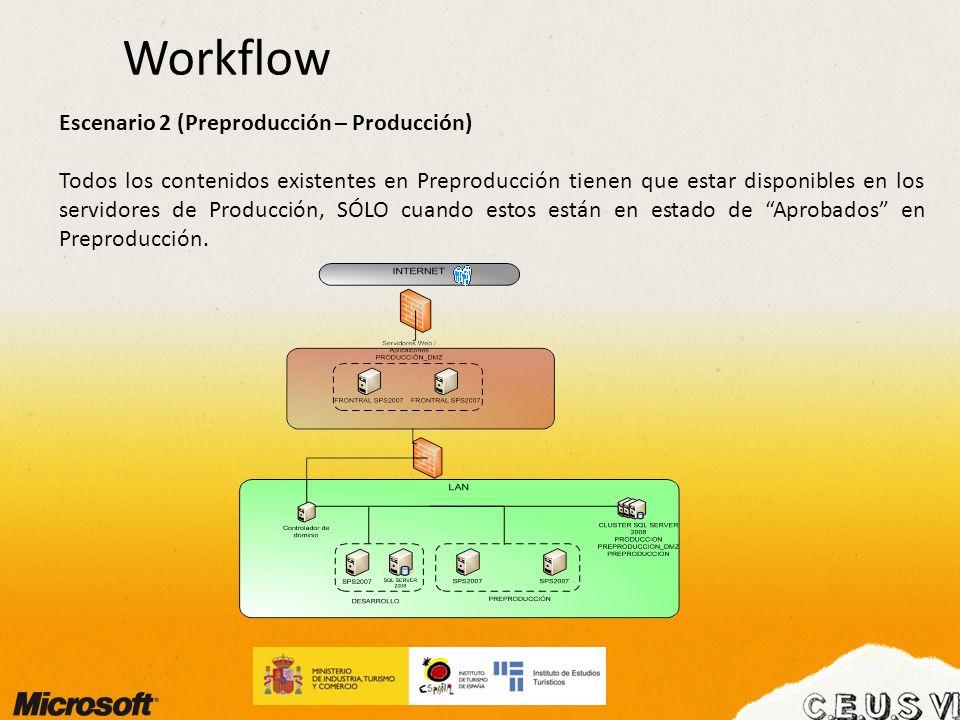 Workflow La solución implantada para este escenario 2 es la siguiente: En Preproducción se utiliza el Workflow estándar de SharePoint de Aprobación en paralelo, el cuál se ha considerado idóneo para el caso del IET.
