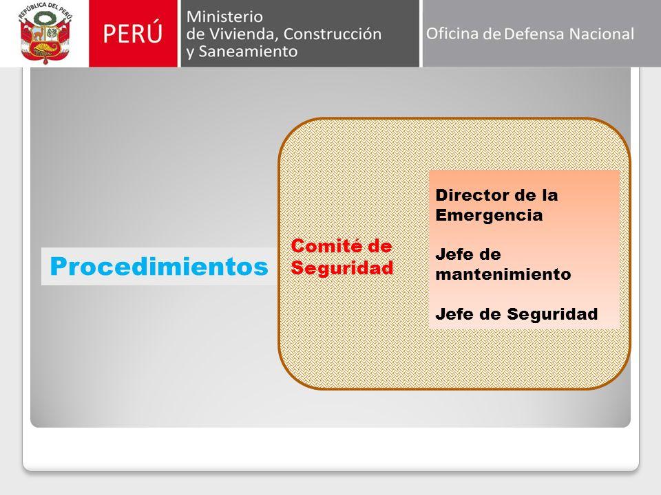 Procedimientos Comité de Seguridad Director de la Emergencia Jefe de mantenimiento Jefe de Seguridad