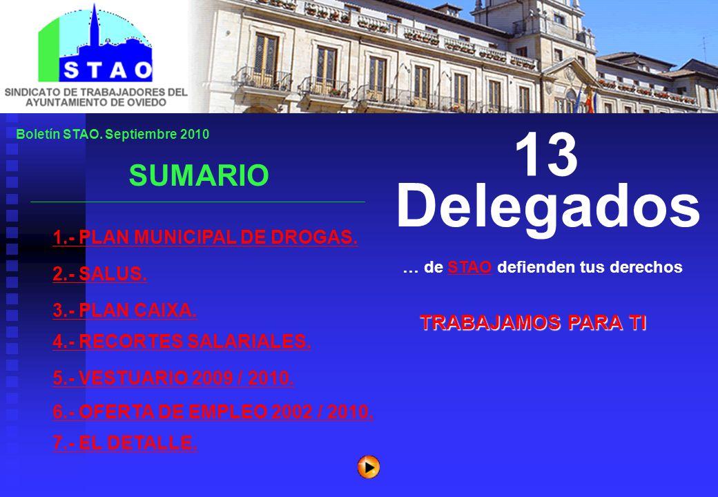 Boletín STAO.Septiembre 2010 1.- PLAN MUNICIPAL DE DROGAS.