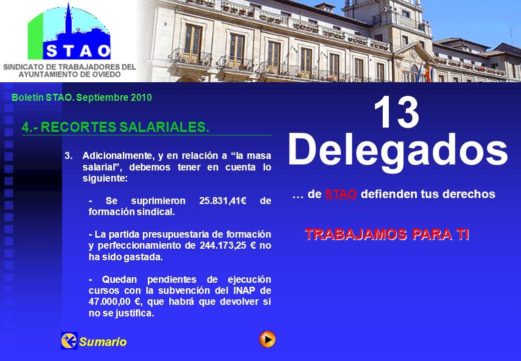 Boletín STAO.Septiembre 2010 4.- RECORTES SALARIALES.