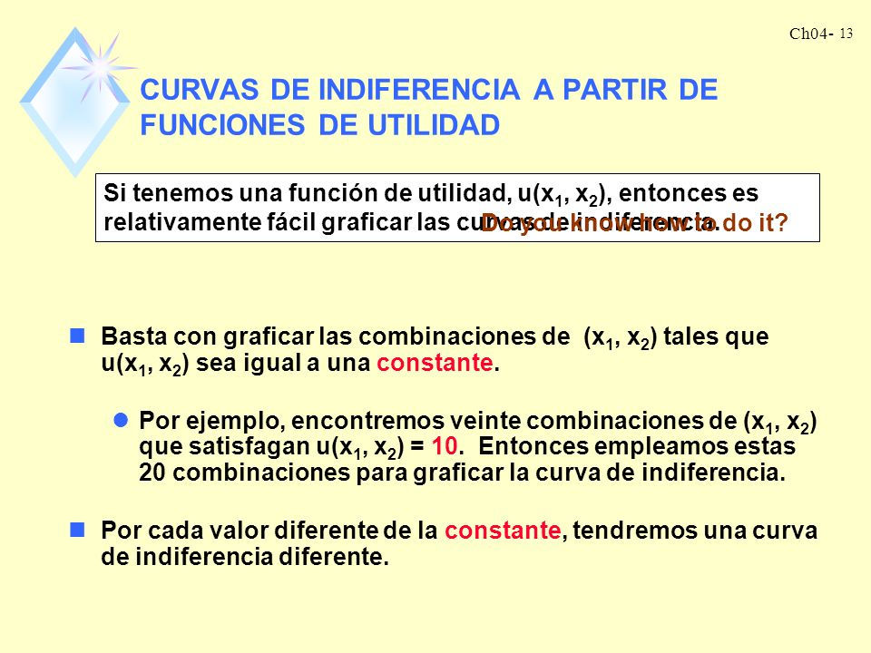 Ch04- 13 CURVAS DE INDIFERENCIA A PARTIR DE FUNCIONES DE UTILIDAD Si tenemos una función de utilidad, u(x 1, x 2 ), entonces es relativamente fácil graficar las curvas de indiferencia.