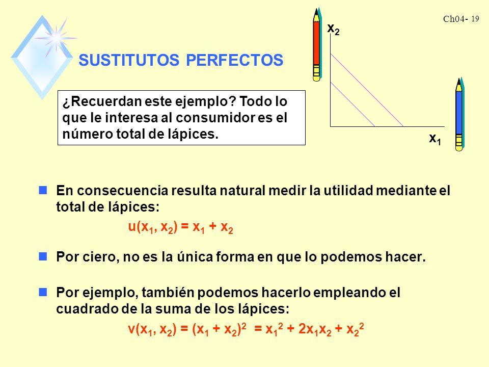 Ch04- 19 SUSTITUTOS PERFECTOS nEn consecuencia resulta natural medir la utilidad mediante el total de lápices: u(x 1, x 2 ) = x 1 + x 2 nPor ciero, no es la única forma en que lo podemos hacer.