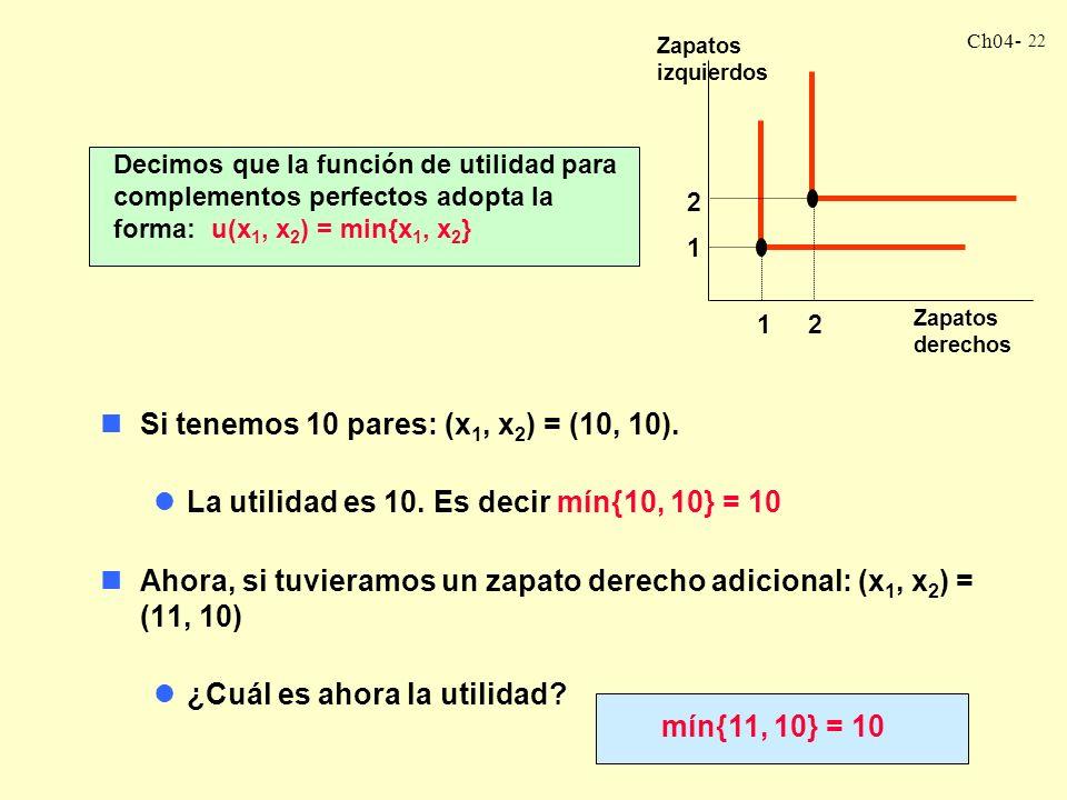 Ch04- 22 Decimos que la función de utilidad para complementos perfectos adopta la forma: u(x 1, x 2 ) = min{x 1, x 2 } nSi tenemos 10 pares: (x 1, x 2 ) = (10, 10).