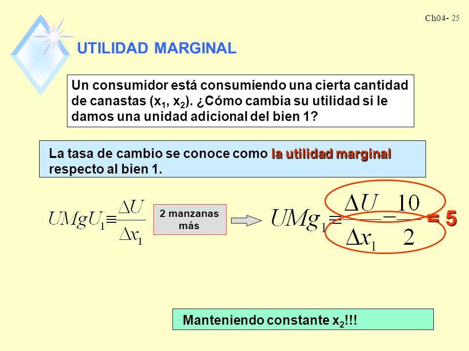 Ch04- 25 UTILIDAD MARGINAL Un consumidor está consumiendo una cierta cantidad de canastas (x 1, x 2 ).