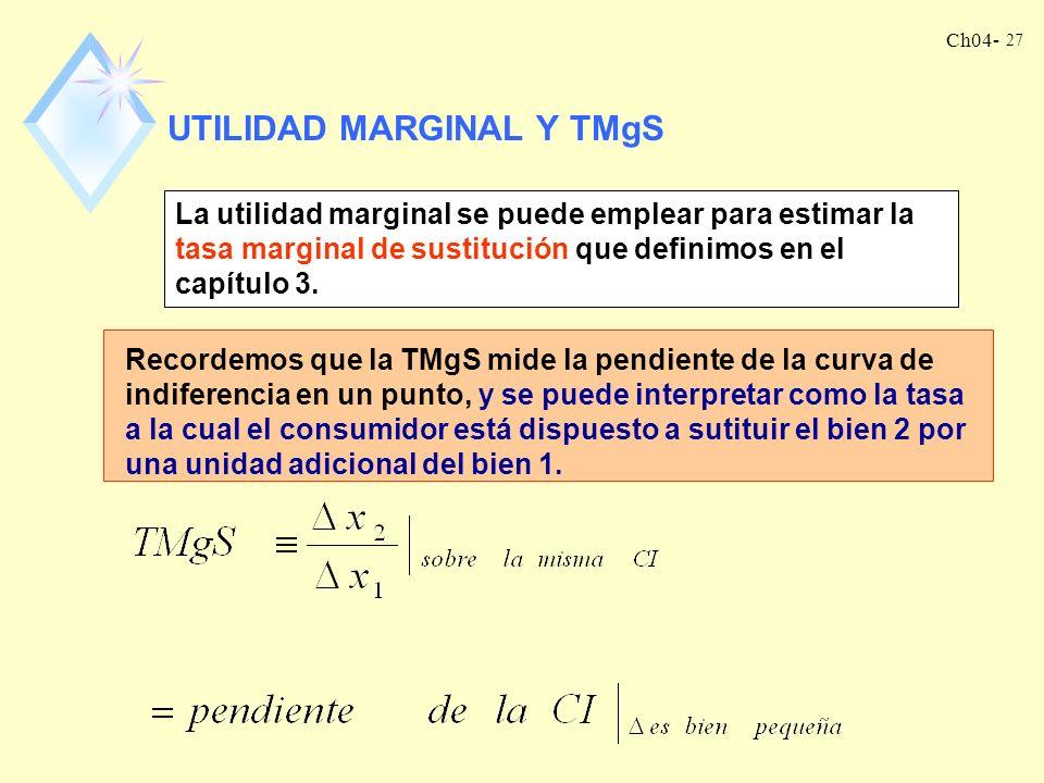 Ch04- 27 UTILIDAD MARGINAL Y TMgS La utilidad marginal se puede emplear para estimar la tasa marginal de sustitución que definimos en el capítulo 3.