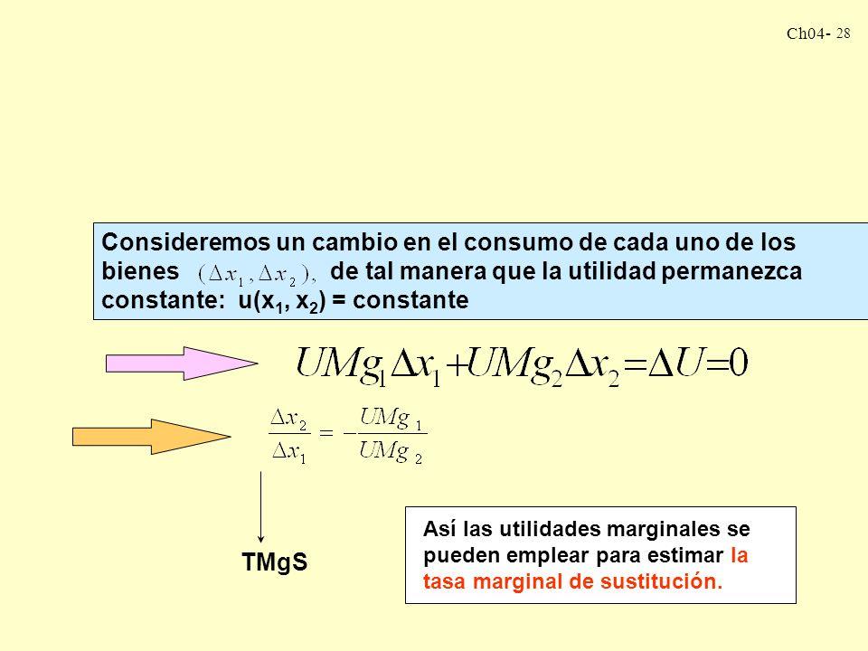 Ch04- 28 Consideremos un cambio en el consumo de cada uno de los bienes de tal manera que la utilidad permanezca constante: u(x 1, x 2 ) = constante TMgS Así las utilidades marginales se pueden emplear para estimar la tasa marginal de sustitución.