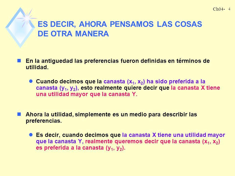 Ch04- 4 ES DECIR, AHORA PENSAMOS LAS COSAS DE OTRA MANERA nEn la antiguedad las preferencias fueron definidas en términos de utilidad.