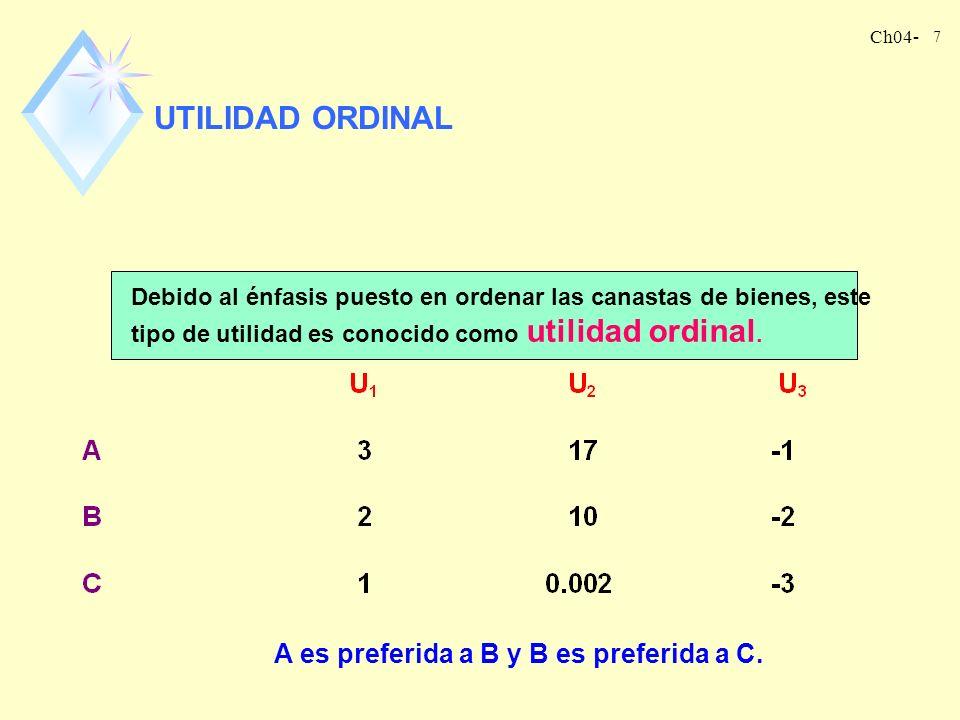 Ch04- 7 UTILIDAD ORDINAL Debido al énfasis puesto en ordenar las canastas de bienes, este tipo de utilidad es conocido como utilidad ordinal.