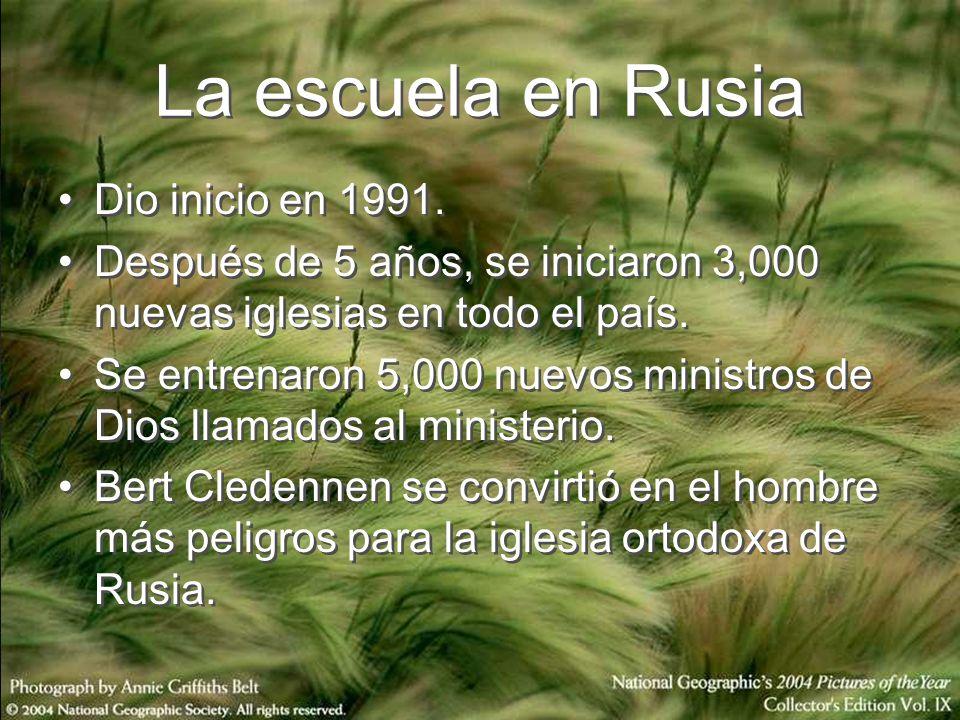 Escuela de Cristo en Perú En 1996 se inicia la escuela en Perú y se traducen las lecciones al español.
