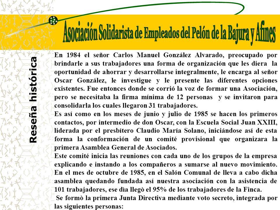 Reseña histórica En 1984 el señor Carlos Manuel González Alvarado, preocupado por brindarle a sus trabajadores una forma de organización que les diera la oportunidad de ahorrar y desarrollarse integralmente, le encarga al señor Oscar González, le investigue y le presente las diferentes opciones existentes.