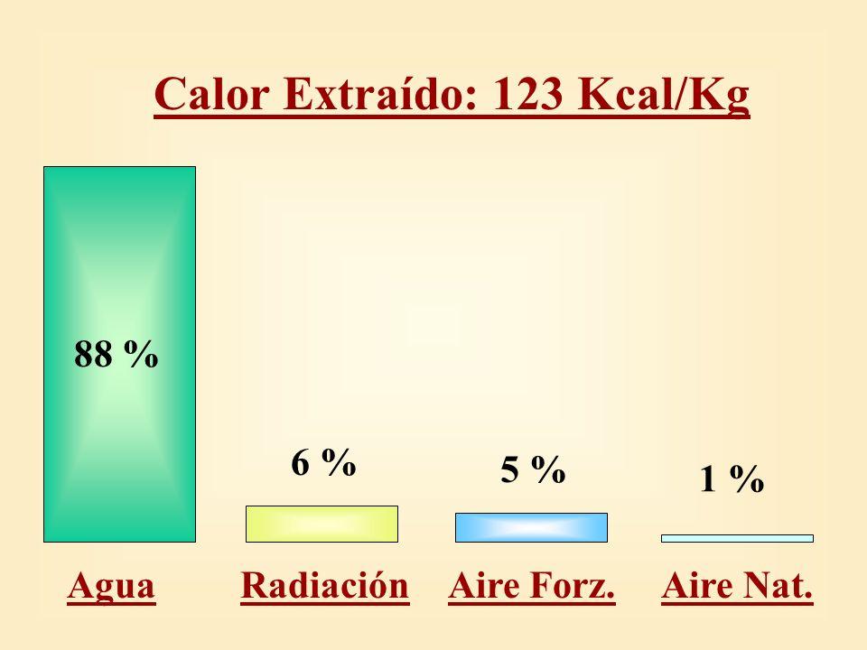 Calor Extraído por Agua 108 Kcal/Kg 18 % Molde 15 % Cerrado 67 % Spray Agua