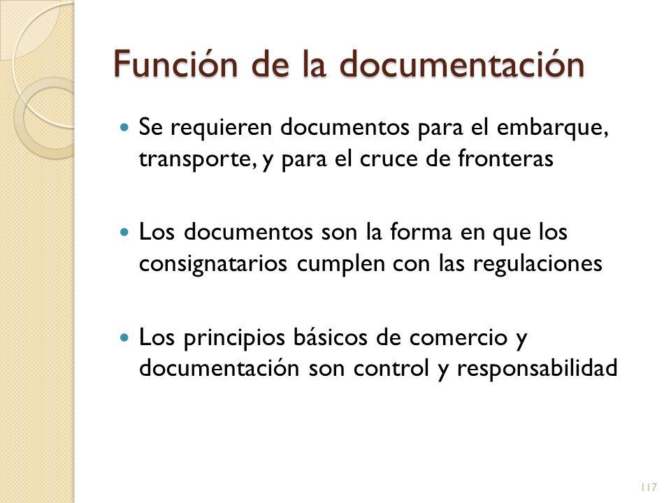 Función de la documentación Propósitos de la documentación Cumplir con las regulaciones Manejo del riesgo (seguros, reglas) Comprensión común (para acuerdo mutuo) Mantenimiento de archivos (legal u opcional) 118
