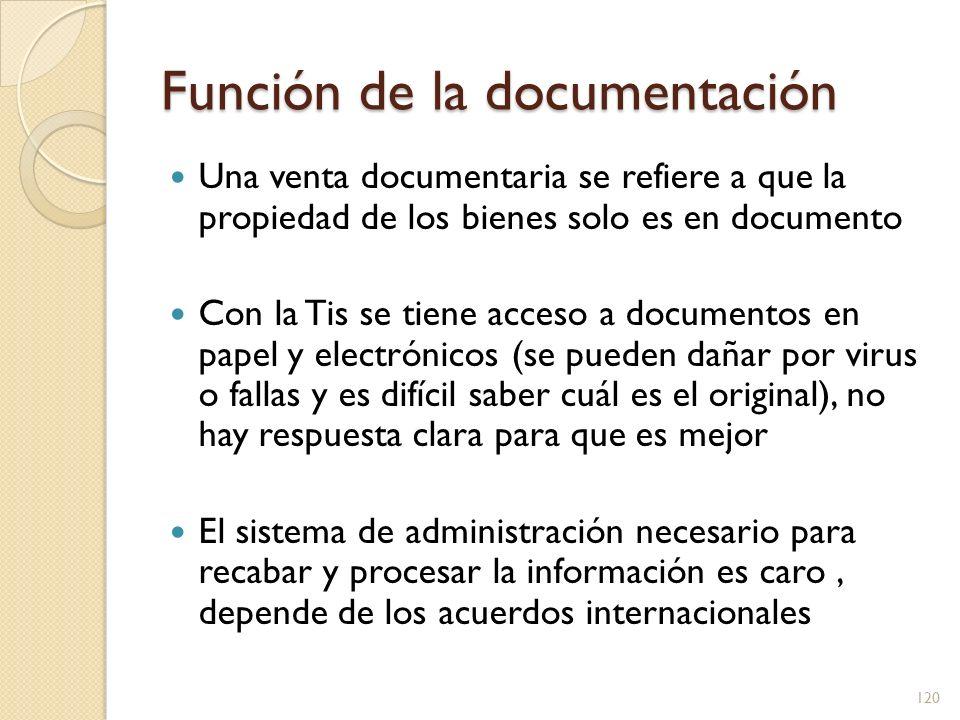 Función de la documentación Los documentos pueden ser falsificados por ladrones, por lo que es necesario contar con bases de datos cruzadas La confidencialidad que circula entre entes privados pudiera ser divulgada en perjuicio de la empresa 121