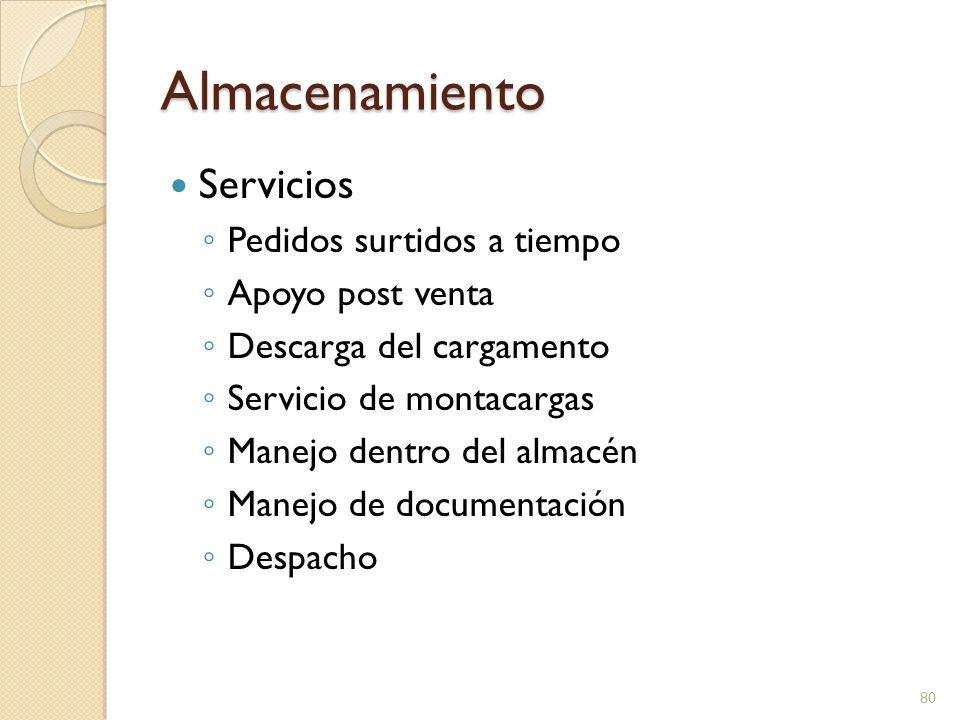 Almacenamiento Servicios Control computarizado de existencias Reportes de inventarios Rotación de inventarios Servicios de comunicación Recolección de la carga por el cliente Entrega local 81