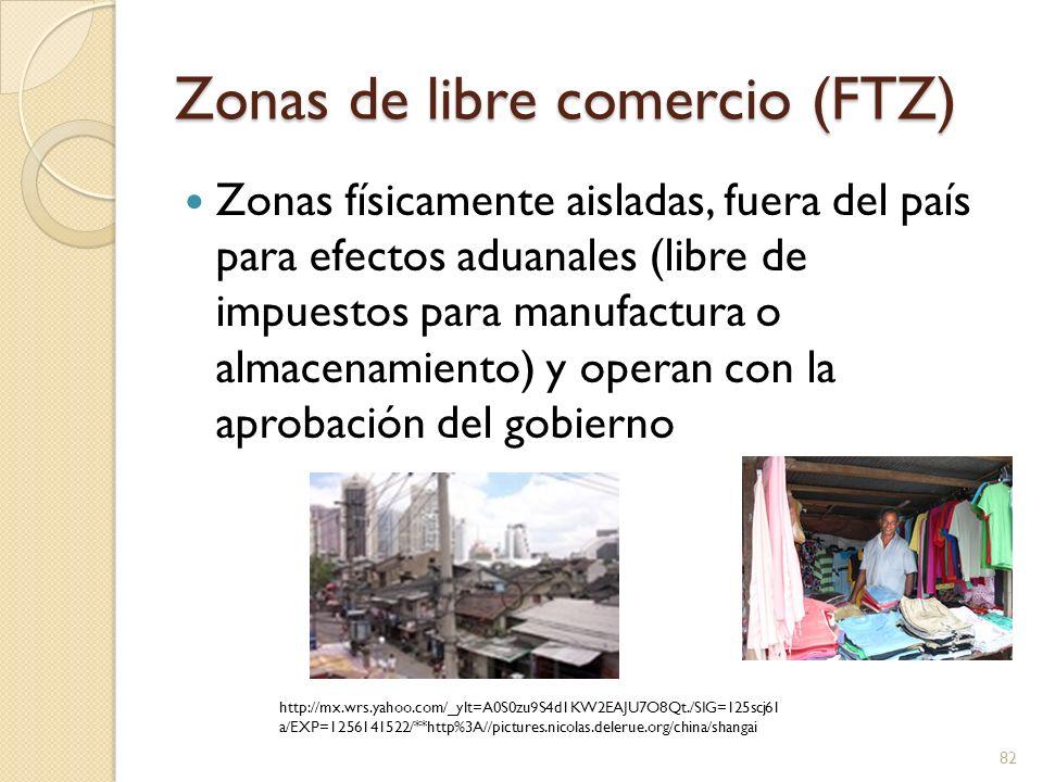 Zonas de libre comercio (FTZ) Razones para usar una FTZ Diferimiento de impuestos de importación Diferimiento de impuestos antes del embarque Procesado Corrección de equivocaciones Venta Da flexibilidad a transportistas y consignatarios Zona segura para empresas en países inestables 83 http://mx.wrs.yahoo.com/_ylt=A0S0zu3g4d1KGXY AerTO8Qt./SIG=129887oed/EXP=1256141664/**h ttp%3A//www.flickr.com/photos/flickr_faris/328954 1765/