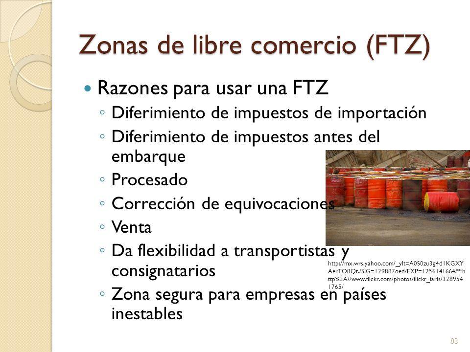 Zonas de libre comercio (FTZ) La Junta para zonas de comercio en el extranjero administra sus operaciones La FTZ Cobra por almacenaje Las aduanas cobran por procesar las importaciones y exportaciones en la FTZ 84