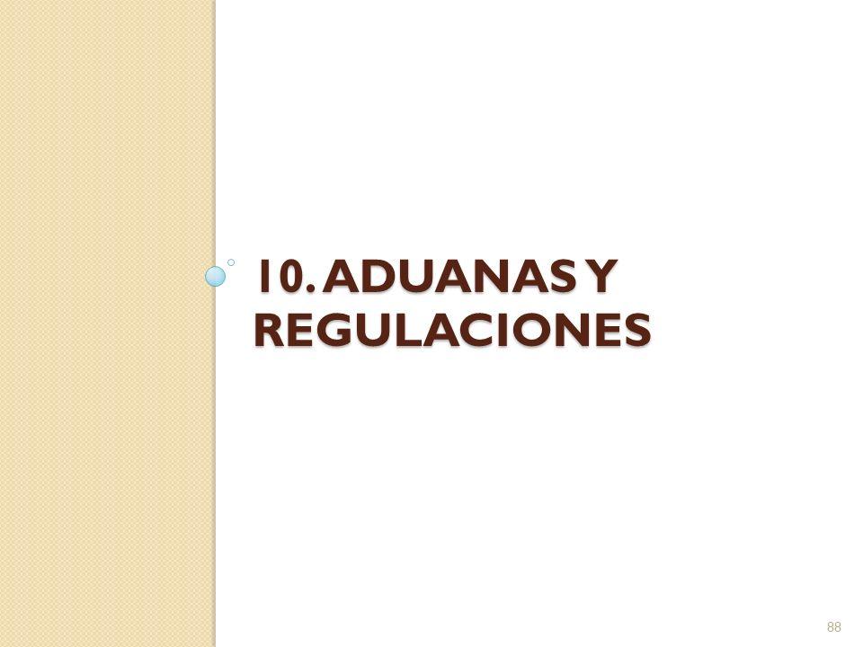 Aduanas y regulaciones La función de las aduanas es controlar las importaciones y exportaciones para ajustarse a las regulaciones oficiales Seguridad nacional Recaudación de fondos 89