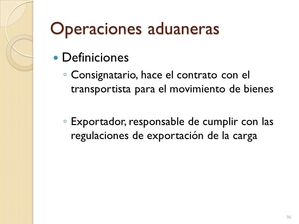 Operaciones aduaneras Definiciones Importador, puede ser el destinatario, a menos que sea el banco que otorgó la carta de crédito Importador registrado – da cumplimento a regulaciones aduanales: cuidado razonable, clasificación, cumplimiento informado, valuación, llevar registro y marcas 97