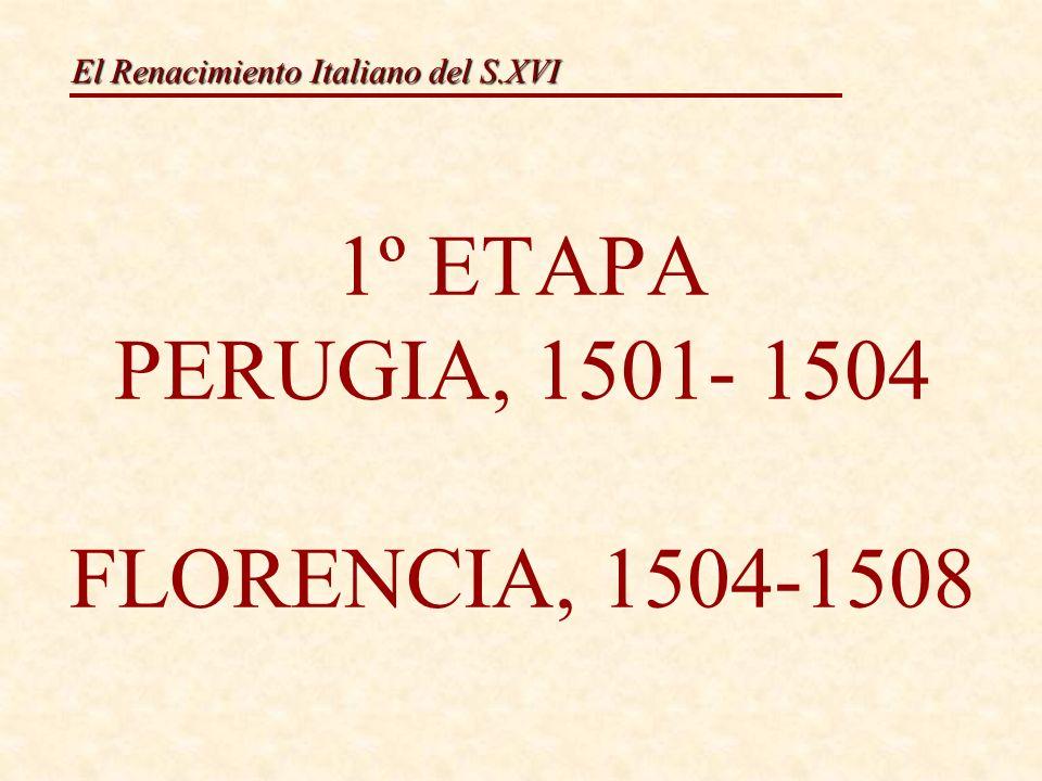 El Renacimiento Italiano del S.XVI Características: Recolle elementos da pintura dos seus predecesores e contemporáneos, fúndeas e engádelle características propias, creando unha arte propia e orixinal Todas as súas obras presentan unha serie de características comúns: 1.A composición piramidal.
