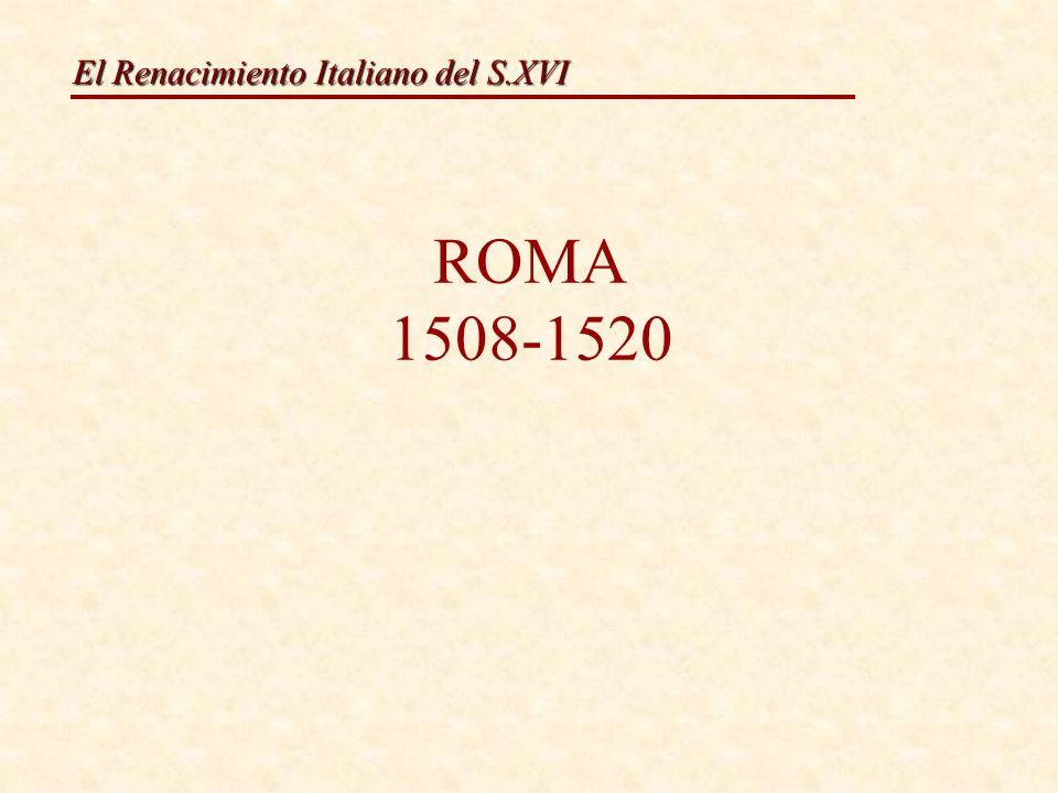 El Renacimiento Italiano del S.XVI Características: As características propias de Rafael engade: 1.Figuras monumentais grandiosas moito máis movidas, con grandes escorzos, cheas de dramatismo.