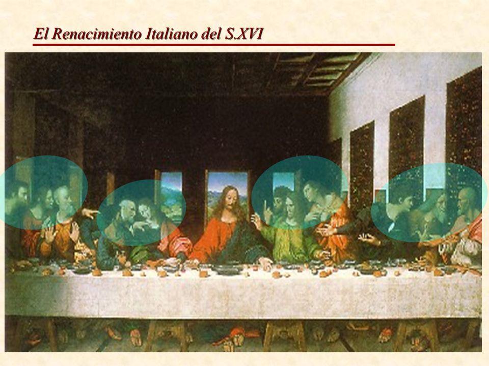 Organización de personajes Frente al sistema tradicional de colocar a Judas al otro lado de la mesa,aquí aparecen los doce apóstoles tras la mesa agrupados de tres en tres, seis a cada lado con Jesús en medio respetando la simetría Leonardo da Vinci Última Cena.