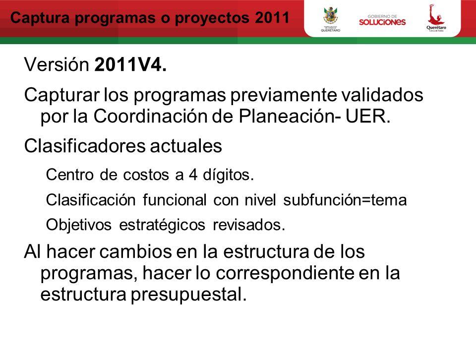 Captura programas o proyectos 2012 Versión 2012V1.