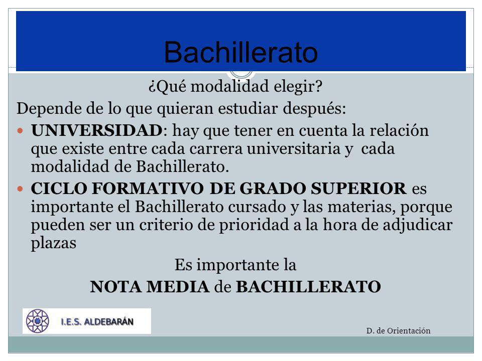 Pueden ver la relación entre las modalidades de Bachillerato, la Universidad y los Ciclos Formativos en: Blog del Departamento de Orientación Programa Orienta 2011-2012 D.