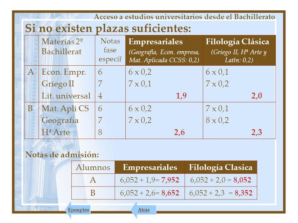 PARA EL INGRESO 2010-2011 Acceso a estudios universitarios desde el Bachillerato Siguiente