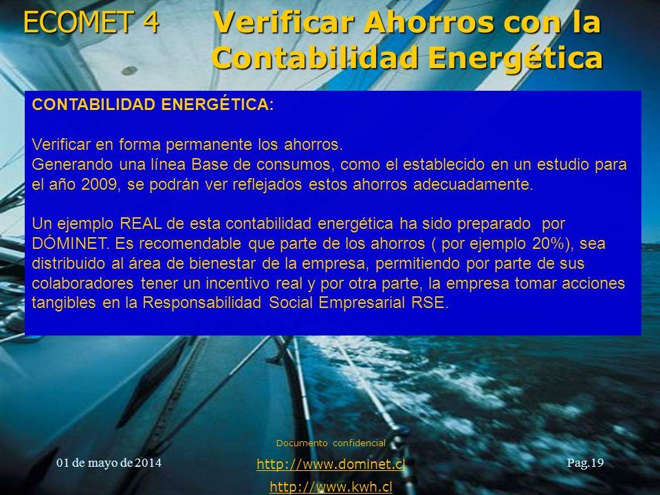 ECOMET 4 01 de mayo de 2014 Documento confidencial http://www.dominet.cl http://www.kwh.cl Pag.20 Verificar Ahorros con la Contabilidad Energética Beneficios de la Contabilidad Energética: 1.Registrar el consumo y los costos.