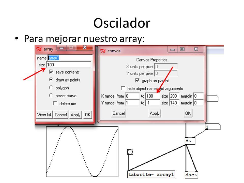 Oscilador Para mejorar nuestro array: gráfico constante
