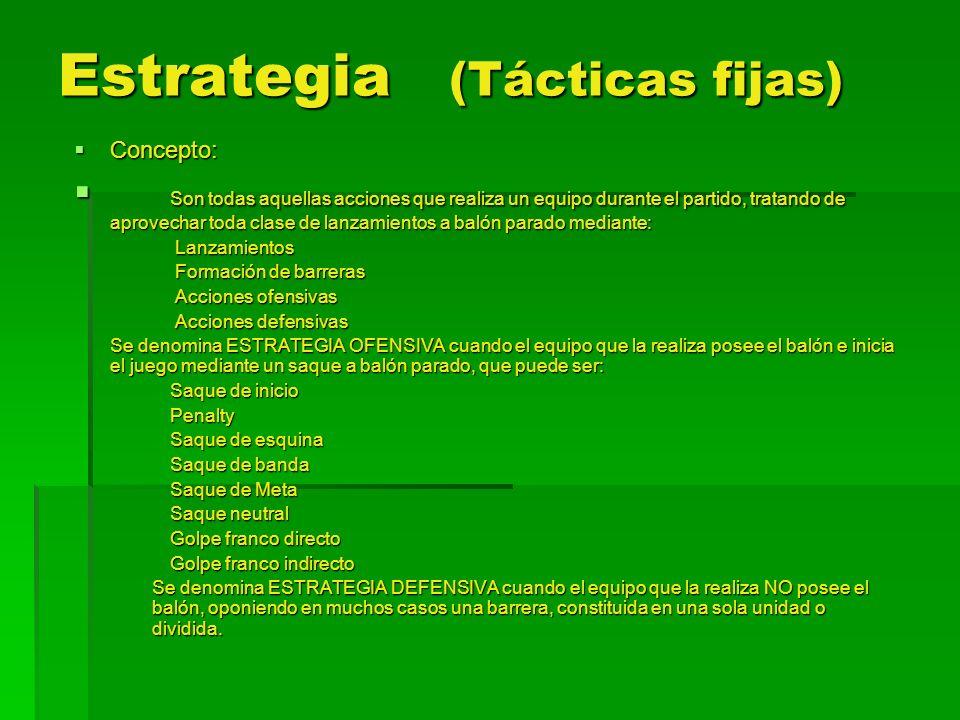Sistemas de juego Concepto: Concepto: Es la posición que adoptan los jugadores de un equipo en el terreno de juego antes de sus movimientos ofensivo o defensivos.