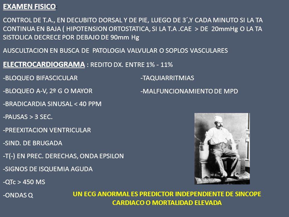 Síncope Historia clínica- examen físico- TA en decúbito y de pie- ECG standard DX DE CERTEZASOSPECHA DXSINCOPE INEXPLICADO TRATAMIENTO PROBABLEMENTE CARDIACO NEURALMENTE MEDIADO O PROBABLE ORTOSTATISMO ECOCARDIOGRAMA TEST STRESS HOLTER LOOP RECORDERS TILT TEST + - + - TRATAMIENTO REEVALUACION ELECTROFIOLOGICO > 1 EPISODIO UNICO EPISODIO NO MAS EVALUACION ECOCARDIOGRAMA TEST STRESS HOLTER LOOP RECORDERS UNICO EPISODIO