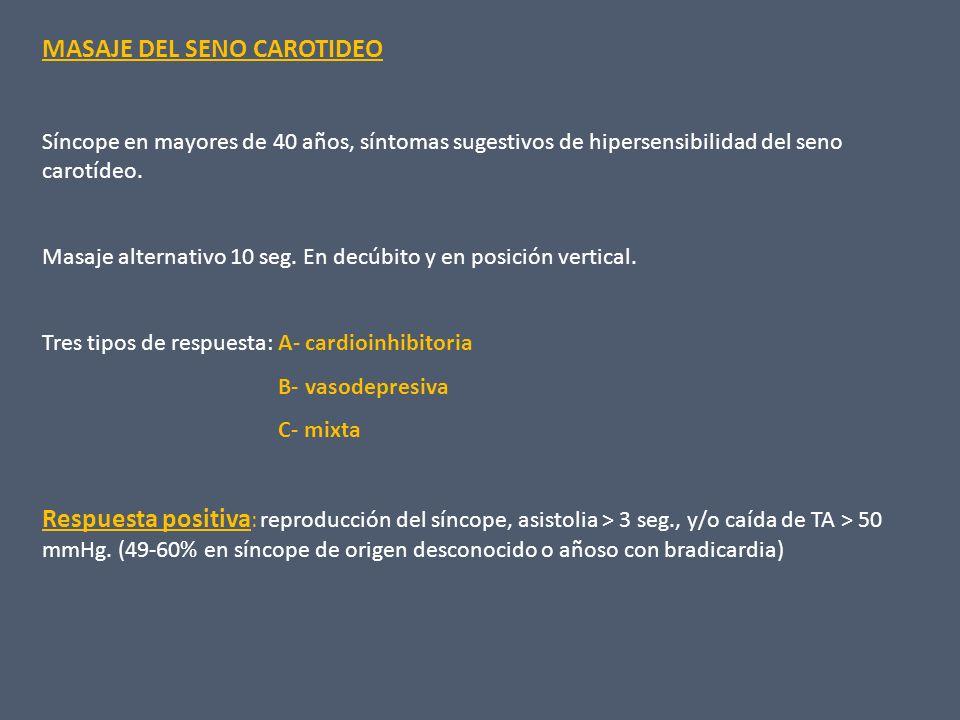 TILT TEST Especificidad para síncope neurocardiogénico: 92% Sensibilidad: 61% En síncope inexplicado: sensibilidad: 53% Especificidad: 90% TIPO DE RESPUESTA Tipo 1 mixta: caída de FC en el momento del síncope, no menos de 40 lpm, o por lo menos de 10 seg.