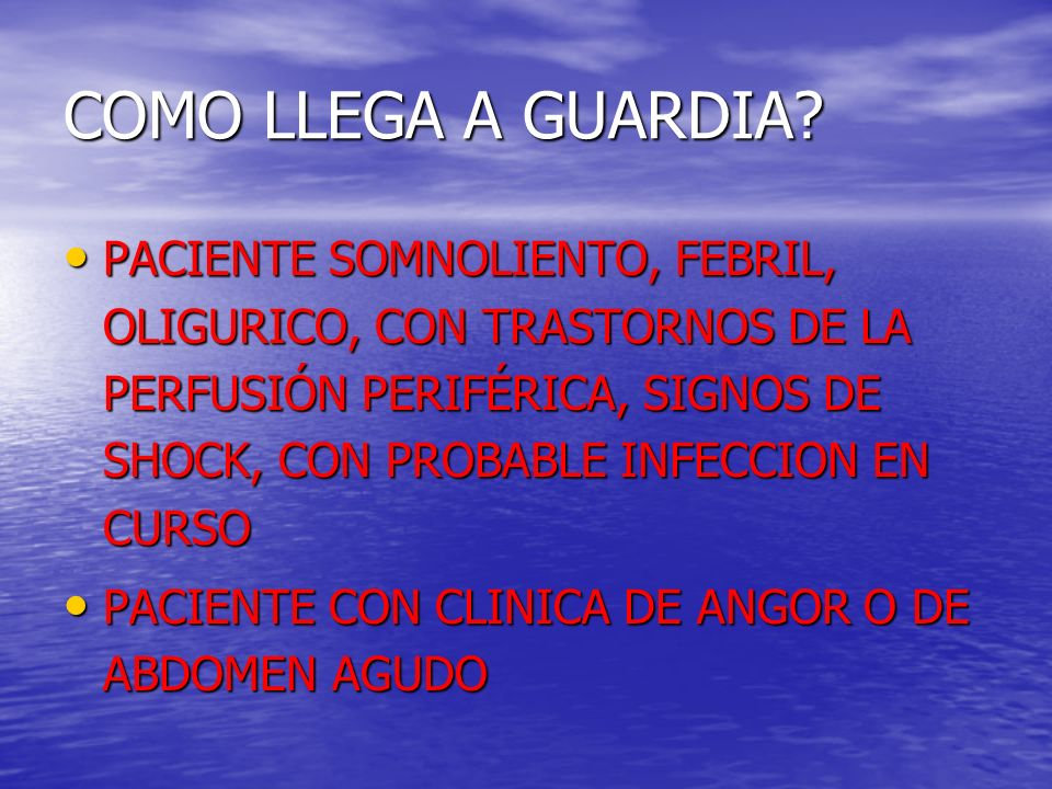ESTUDIOS A SOLICITAR ESTUDIOS OBLIGATORIOS ESTUDIOS OBLIGATORIOS –HEMOCITOLOGICO COMPLETO ERITRO –CETONEMIA / CETONURIA –GASES ARTERIALES –IONOGRAMA –UREMIA, CREATININEMIA –GLUCEMIA GLUCOSURIA –ECG –RX TORAX –HEMO Y UROCULTIVO