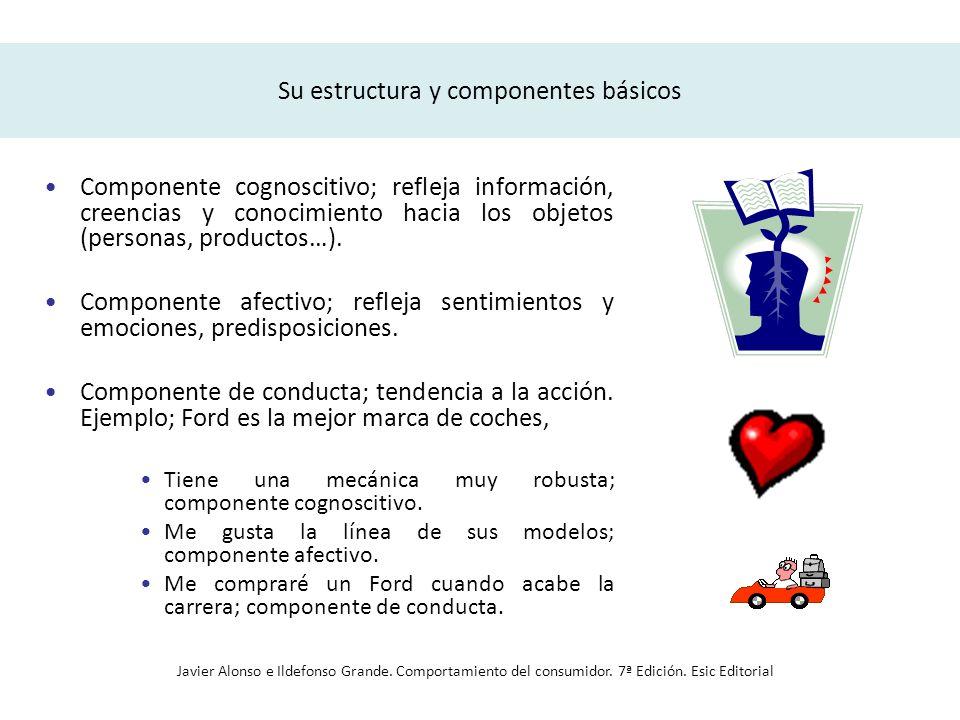 Su estructura y componentes básicos El primero refleja la información, creencias y conocimiento de la persona hacia un determinado objeto o producto.