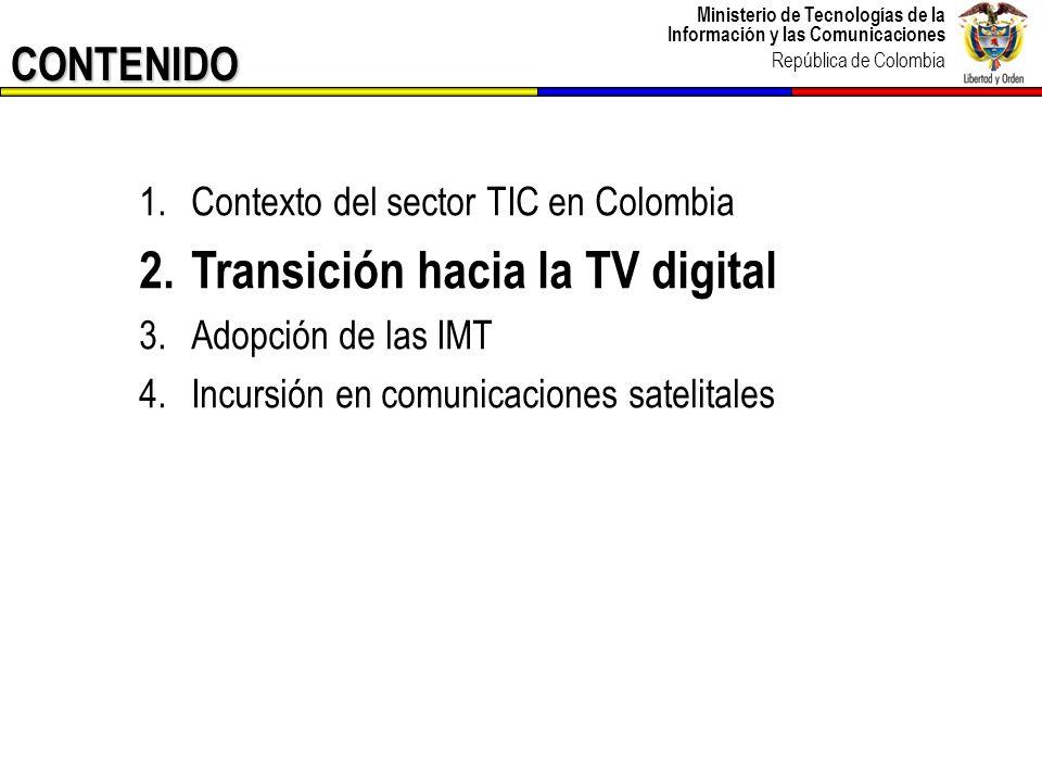 Ministerio de Tecnologías de la Información y las Comunicaciones República de Colombia Estado actual de la TV en Colombia 13 Sin ánimo de lucro Con ánimo de lucro TELEVISIÓN RADIODIFUNDIDA OPERACIÓN PÚBLICA OPERACIÓN PRIVADA TELEVISIÓN LOCAL ESTACIONESCOBERTURA Población 21192% 13486% 2Bogotá D.C.