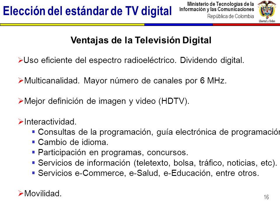 Ministerio de Tecnologías de la Información y las Comunicaciones República de Colombia 17 COMISIÓN NACIONAL DE TELEVISIÓN COMITÉ TÉCNICO CONSEJO ASESOR Ministerio de Comunicaciones Ministerio de Educación, Ministerio de Cultura, Congreso Nacional, operadores de TV públicos y privados, asociaciones sectoriales, representantes de Universidades PARTICIPACIÓN CIUDADANA 13 FOROS NACIONALES para la socialización del concepto y ventajas de la TDT 5 PROGRAMAS DE TELEVISIÓN emitidos para informar acerca de aspectos específicos de la TDT Elección del estándar de TV digital