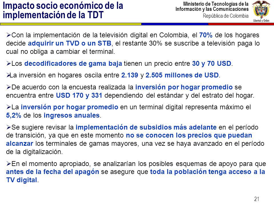 Ministerio de Tecnologías de la Información y las Comunicaciones República de Colombia 22 El estándar DVB-T fue presentado a Colombia acompañado de una propuesta de cooperación internacional.
